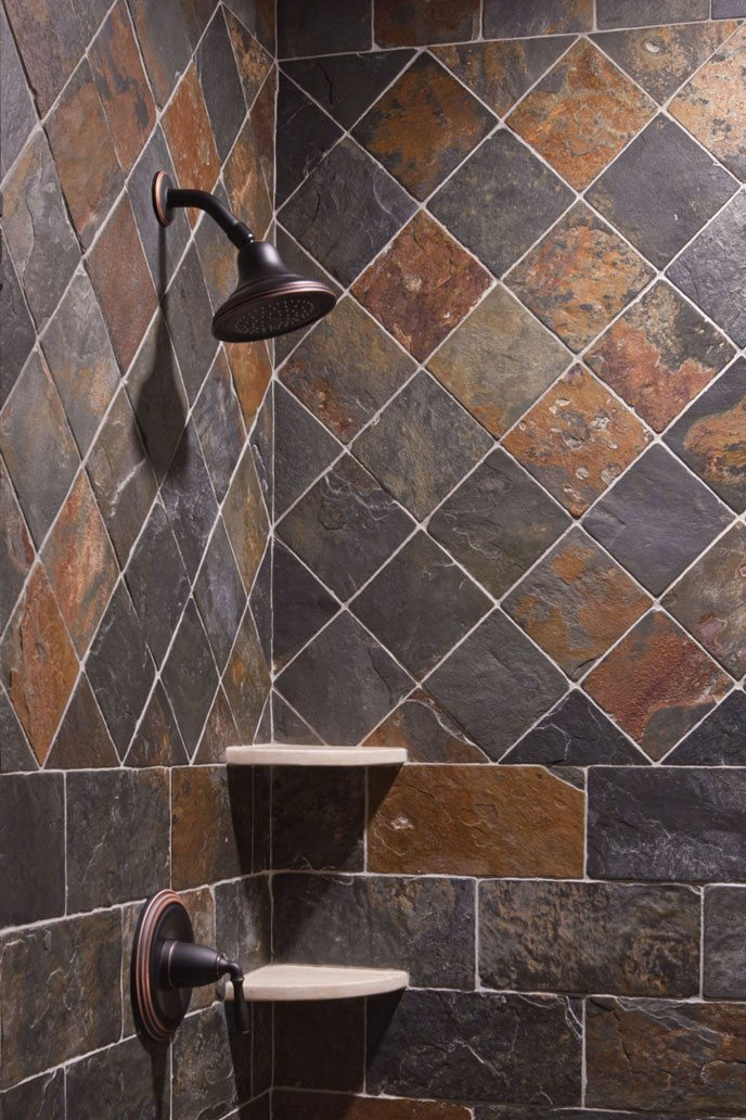 Bathroom shower stone tiles